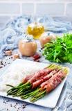 Рис с спаржей и мясом стоковое изображение rf