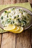 Рис с шпинатом, пылом лимона, луком и концом-вверх сыра фета дальше Стоковая Фотография