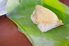 Рис тайского десерта липкий с испаренным заварным кремом Стоковая Фотография