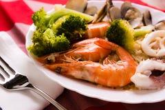 Рис тушёного мяса морепродуктов Стоковые Изображения