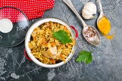 рис цыпленка зажаренный стоковое фото