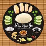 Рис цыпленка стиля gai человека Khao тайский с ингредиентами бесплатная иллюстрация