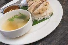 Рис, цыпленок, суп и соус стоковое фото