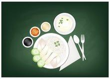 Рис цыпленка Hainanese на зеленой доске иллюстрация вектора