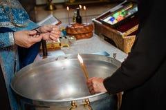 Ритуал горящих волос крещения Стоковая Фотография RF