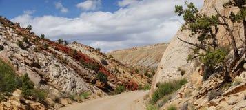 Риф капитолия, центральная Юта, США Панорамный взгляд от дороги к горам и красным глинам с красивыми облаками в голубом небе Стоковые Фотографии RF