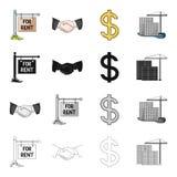 Риэлтор, дела, пребывание и другой значок сети в стиле шаржа Приобретение, продажа, офис, значки в собрании комплекта иллюстрация вектора