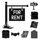 Риэлтор, значки агенства черные в собрании комплекта для дизайна Покупающ и продающ недвижимость vector сеть запаса символа иллюстрация штока