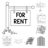 Риэлтор, значки плана агенства в собрании комплекта для дизайна Покупающ и продающ недвижимость vector сеть запаса символа иллюстрация штока