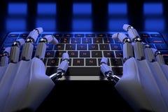 Робототехническая рука киборга используя компьютер Руки робота печатая на клавиатуре 3d представляют реалистическую иллюстрацию иллюстрация вектора
