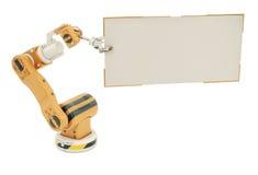 Робототехническая рука с пустой доской Стоковое Изображение