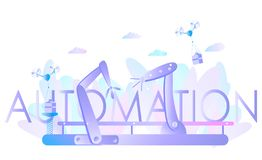 Робототехнические руки и конвейерная лента, контролируемые инженером Автоматизация фабрики, индустрия 4 иллюстрация штока