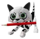 Робототехнический котенок, карандаш Стоковое Фото
