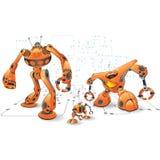 роботы померанца интернета иллюстрация штока