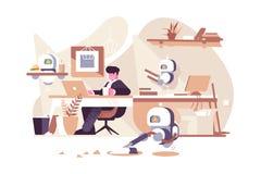 Роботы работая в офисе бесплатная иллюстрация