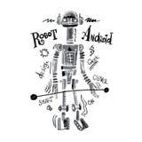 Робот акварели плаката Стоковая Фотография