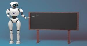 Робот андроида с ручкой указателя на голубой предпосылке illustra 3D Стоковые Изображения
