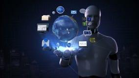 Робот, ладонь киборга открытая, вращая земля, расширяя социальные сетевые услуги искусственный спутник, техника связи иллюстрация штока