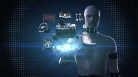 Робот, ладонь киборга открытая, корабль разделяет, двигатель, место, приборный щиток, навигация, педаль акселератора, тональнозву бесплатная иллюстрация