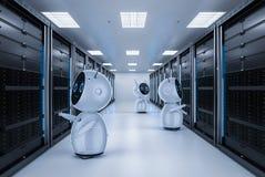 Робот в комнате сервера бесплатная иллюстрация