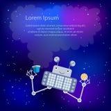 Робот в космосе Шаблон для поздравительной открытки или рогульки Стоковые Изображения RF