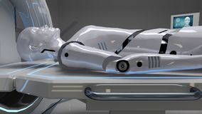 Робот в медицинском объекте с футуристической разверткой тела перевод 3d стоковые фото