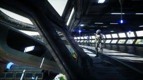 Робот в tonnel Sci fi Концепция будущего Реалистическая анимация 4K иллюстрация вектора