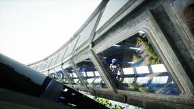 Робот в tonnel Sci fi Концепция будущего Реалистическая анимация 4K иллюстрация штока
