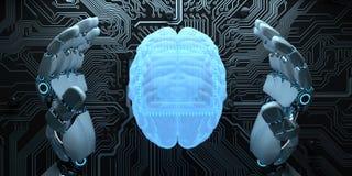 Робот гуманоида AI превращаясь иллюстрация вектора