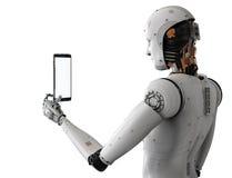 Робот держа таблетку Стоковые Изображения