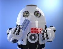 Робот играя с красочными кирпичами здания изолированная принципиальной схемой белизна технологии Содержит путь клиппирования Стоковые Фото