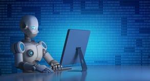 Робот используя компьютер с бинарным кодом, искусственным интеллектом иллюстрация вектора