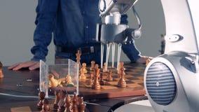 Робот и человеческая конкуренция Рука робота играя шахмат с человеком искусственний мозг обходит вокруг mainboard электронной све