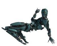 Робот киборга в полете бесплатная иллюстрация