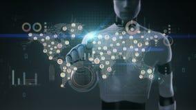 Робот, киборг касаясь соединенным людям мира, используя технику связи с экономической диаграммой, диаграмма образуйте переговоры