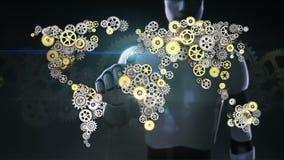 Робот, киборг касался экрану, стальным золотым шестерням делая глобальную карту мира искусственный интеллект гловальная технологи