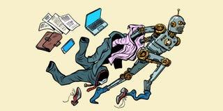 Робот ломает из человеческих стереотипов иллюстрация вектора