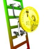 Робот монетки доллара взбирается к верхней части иллюстрации лестницы Стоковые Фото