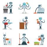 Робот домочадца домоустройства делая домашнюю уборку и другую серию обязанностей футуристической иллюстрации с андроидом холопки Стоковые Изображения RF