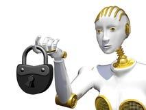 робот перевода 3d при padlock изолированный на белизне Стоковое Изображение
