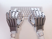 Робот печатая на клавиатуре Стоковая Фотография RF