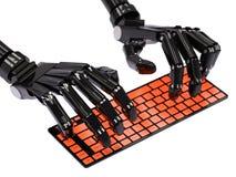 Робот печатая на клавиатуре Стоковые Фото