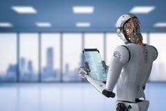 Робот работая с цифровой таблеткой Стоковое фото RF