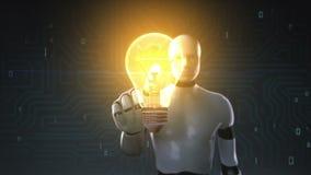 Робот, свет шарика киборга касающий, показывая концепцию ИДЕИ бесплатная иллюстрация