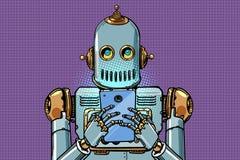 Робот смотрит смартфон иллюстрация вектора