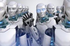 Робот смотря прищурясь вне от толпы иллюстрация вектора