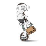 Робот спешит для работы с сумкой в его руке бесплатная иллюстрация