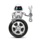Робот с колесом автомобиля и гаечным ключом, вектором бесплатная иллюстрация