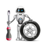 Робот с колесом автомобиля и отверткой, вектором иллюстрация вектора