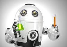 Робот с пробиркой и склянкой Концепция химического анализа Содержит путь клиппирования Стоковые Фото